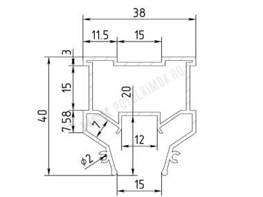 Профиль ПФ7140 «Световые линии 1.5см»