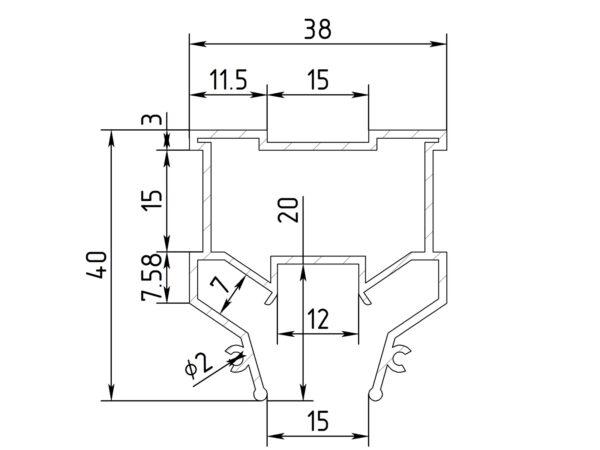 Ал профиль ПФ 7140 1,5 см Световая линия