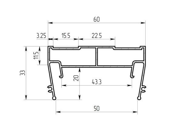 Ал профиль ПФ 7320 (5см) Световая линия